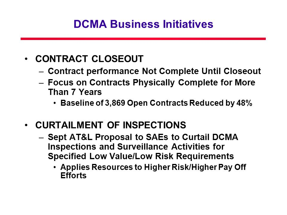 DCMA Business Initiatives
