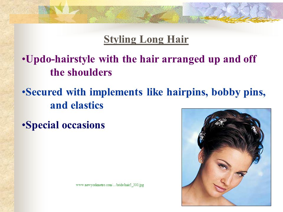 Updo-hairstyle with the hair arranged up and off the shoulders