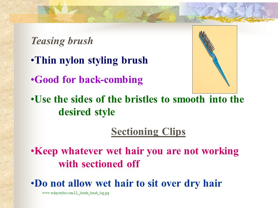 Thin nylon styling brush Good for back-combing