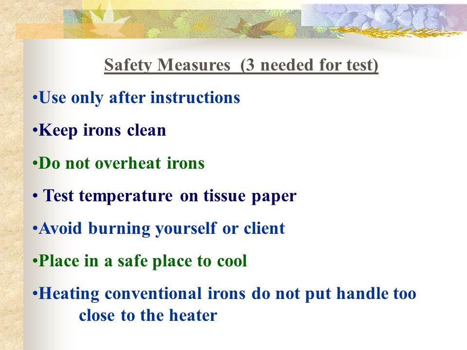 Safety Measures (3 needed for test)