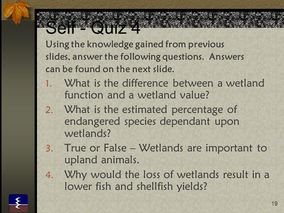 Self - Quiz 4 Using the knowledge gained from previous. slides, answer the following questions. Answers.