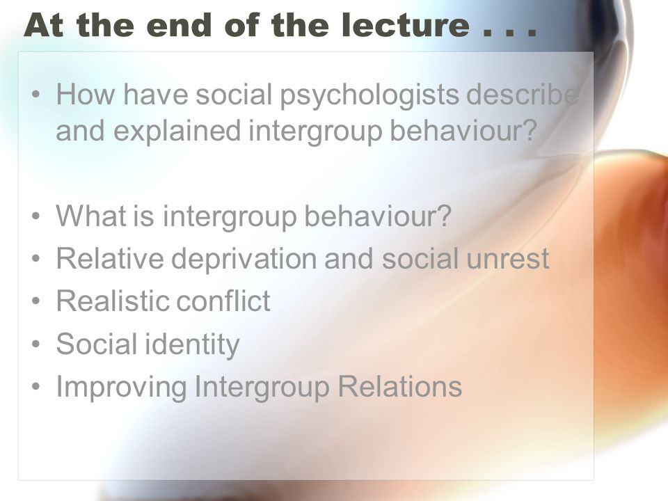 At the end of the lecture . . .