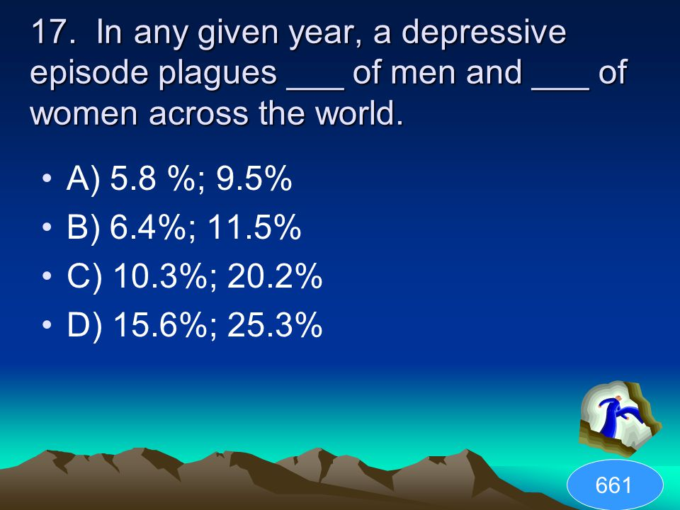 17. In any given year, a depressive episode plagues ___ of men and ___ of women across the world.