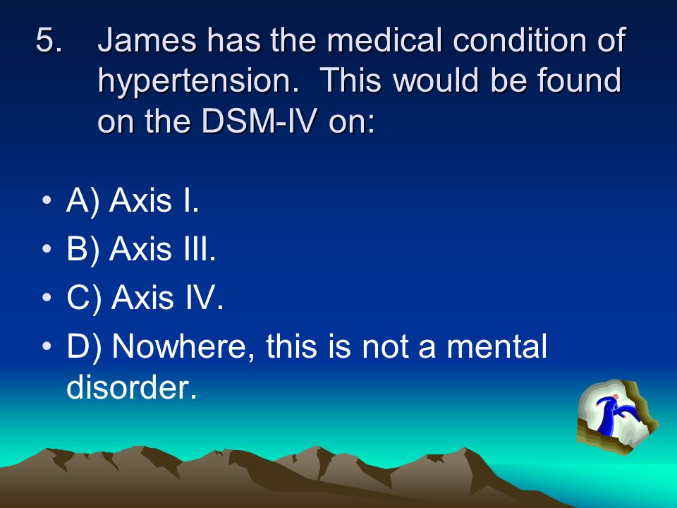 James has the medical condition of hypertension