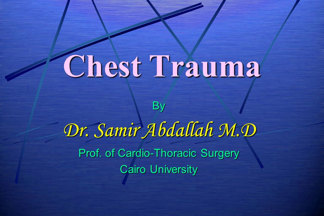 Prof. of Cardio-Thoracic Surgery