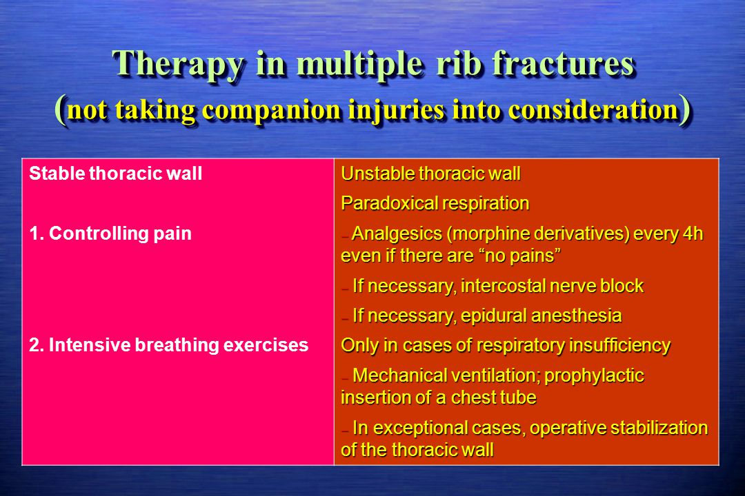 Therapy in multiple rib fractures (not taking companion injuries into consideration)