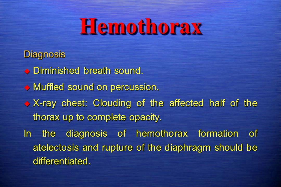 Hemothorax Diagnosis Diminished breath sound.