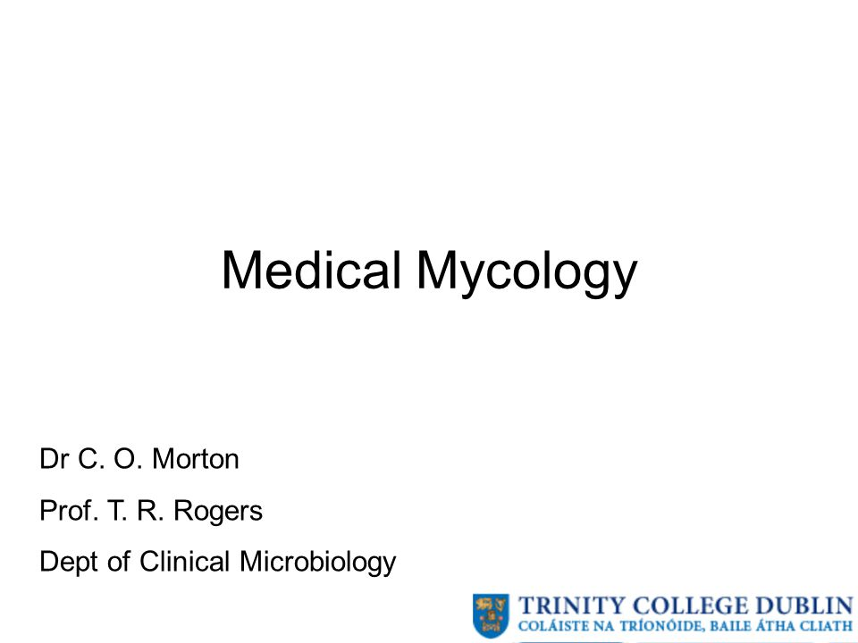 Medical Mycology Dr C. O. Morton Prof. T. R. Rogers