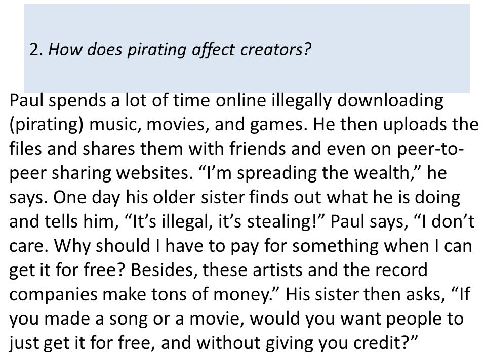 2. How does pirating affect creators