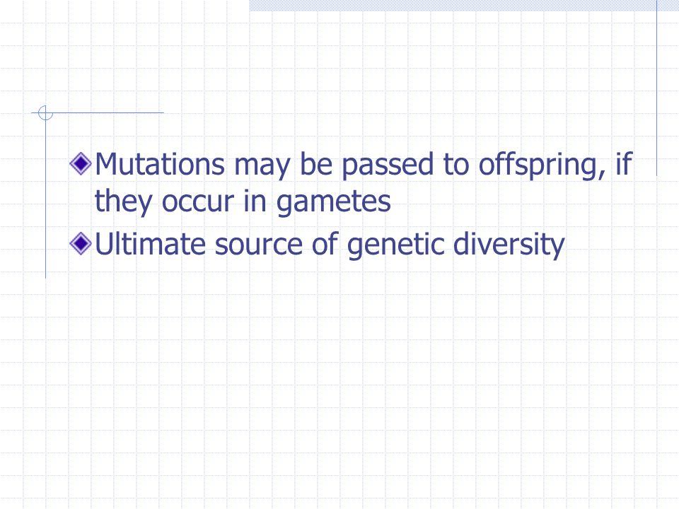Mutations may be passed to offspring, if they occur in gametes