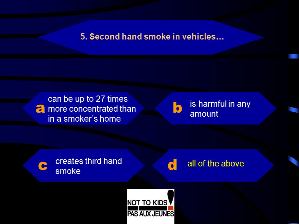 a b c d 5. Second hand smoke in vehicles…