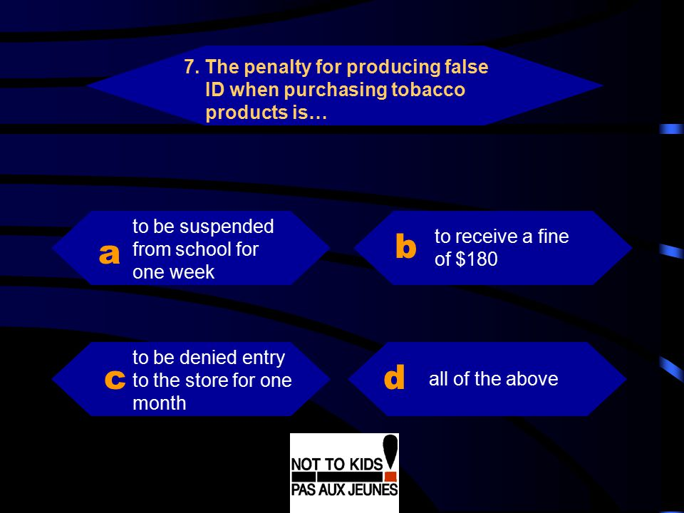 7. The penalty for producing false ID when purchasing tobacco products is…
