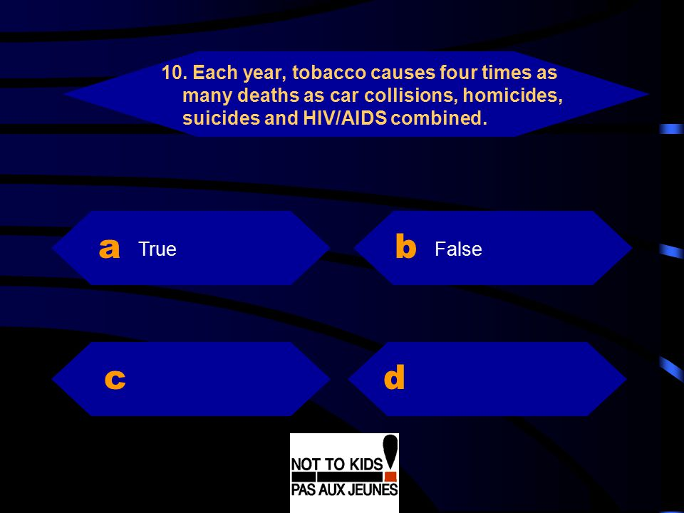 10. Each year, tobacco causes four times as many deaths as car collisions, homicides, suicides and HIV/AIDS combined.