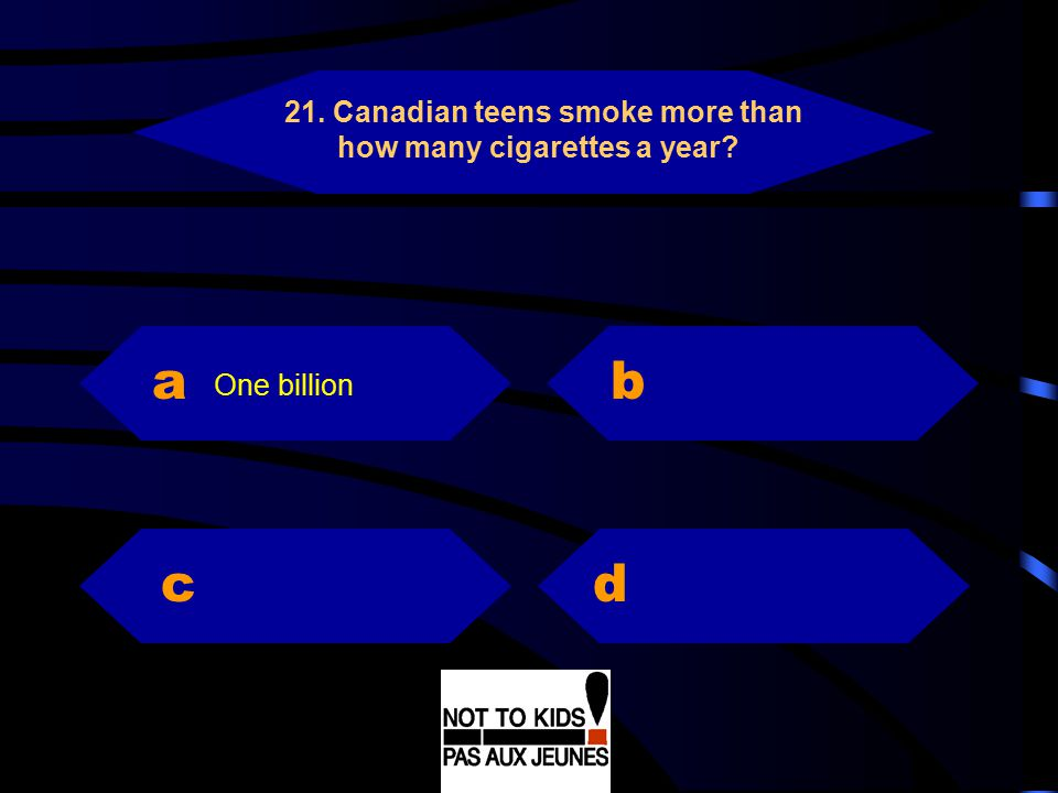 a b c d 21. Canadian teens smoke more than how many cigarettes a year