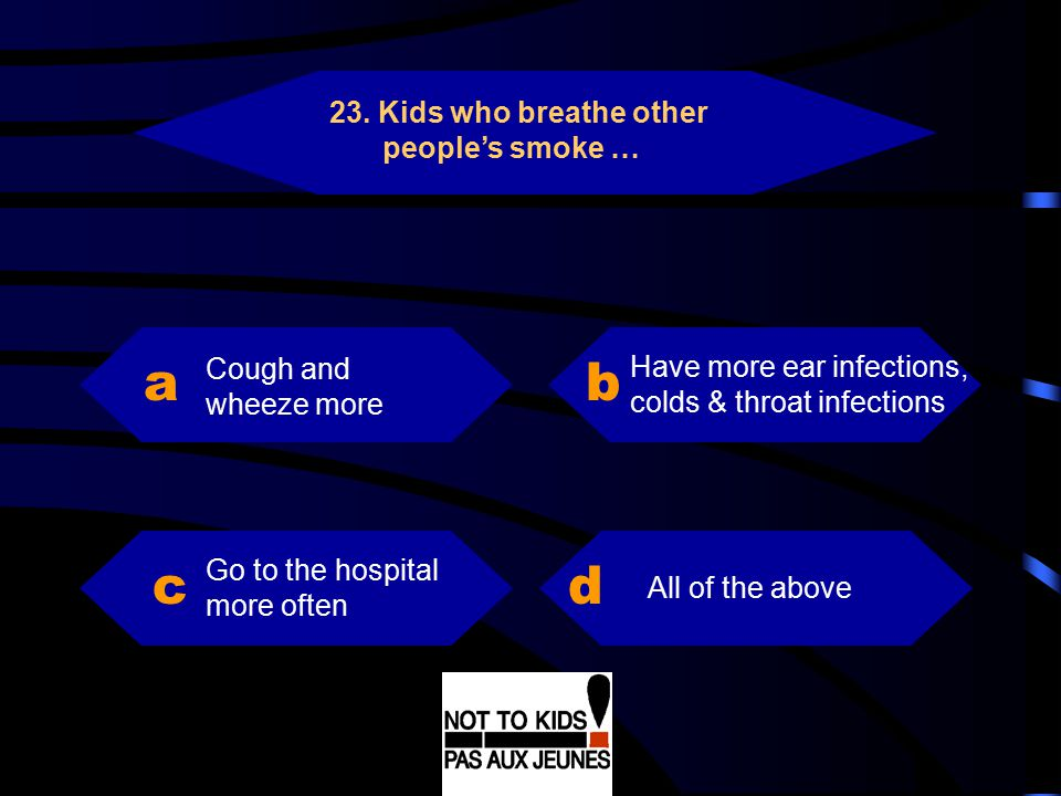 a b c d 23. Kids who breathe other people's smoke …