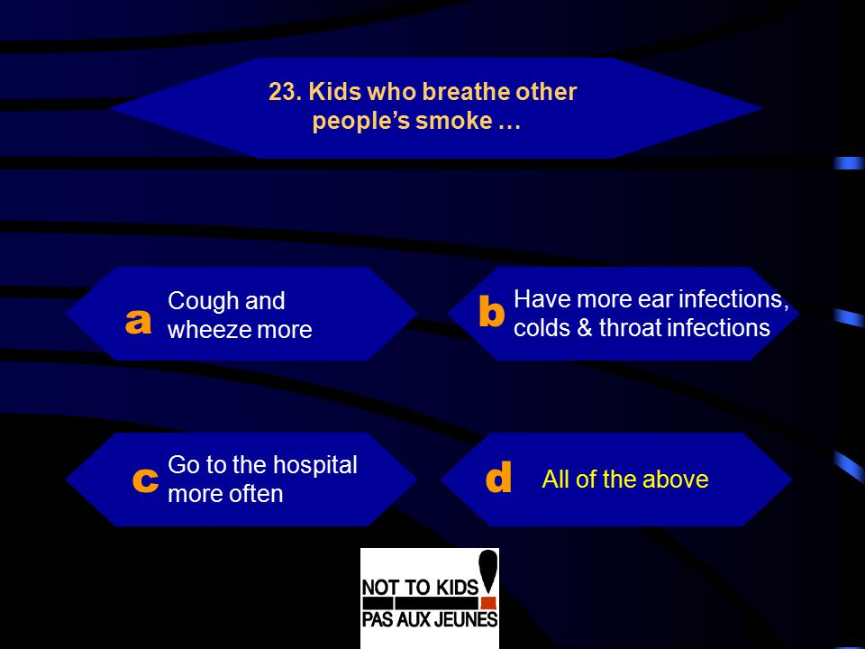 b a c d 23. Kids who breathe other people's smoke …