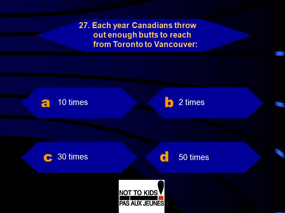 27. Each year Canadians throw out enough butts to reach from Toronto to Vancouver: