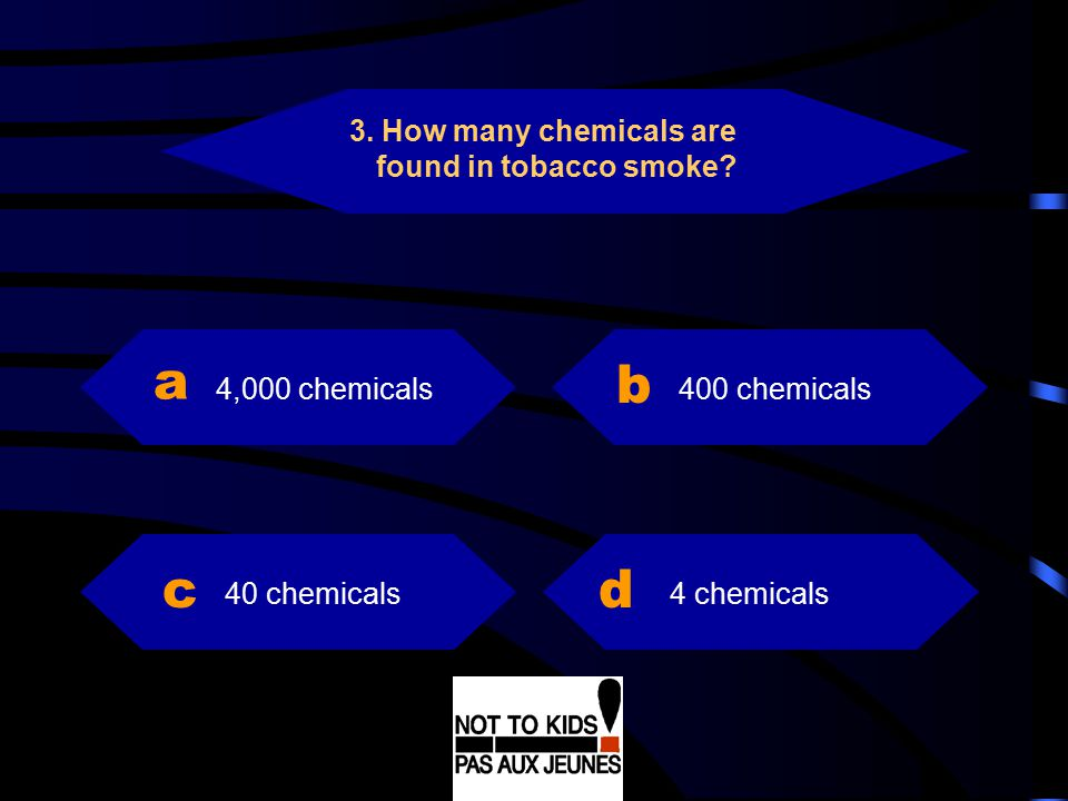 a b c d 3. How many chemicals are found in tobacco smoke