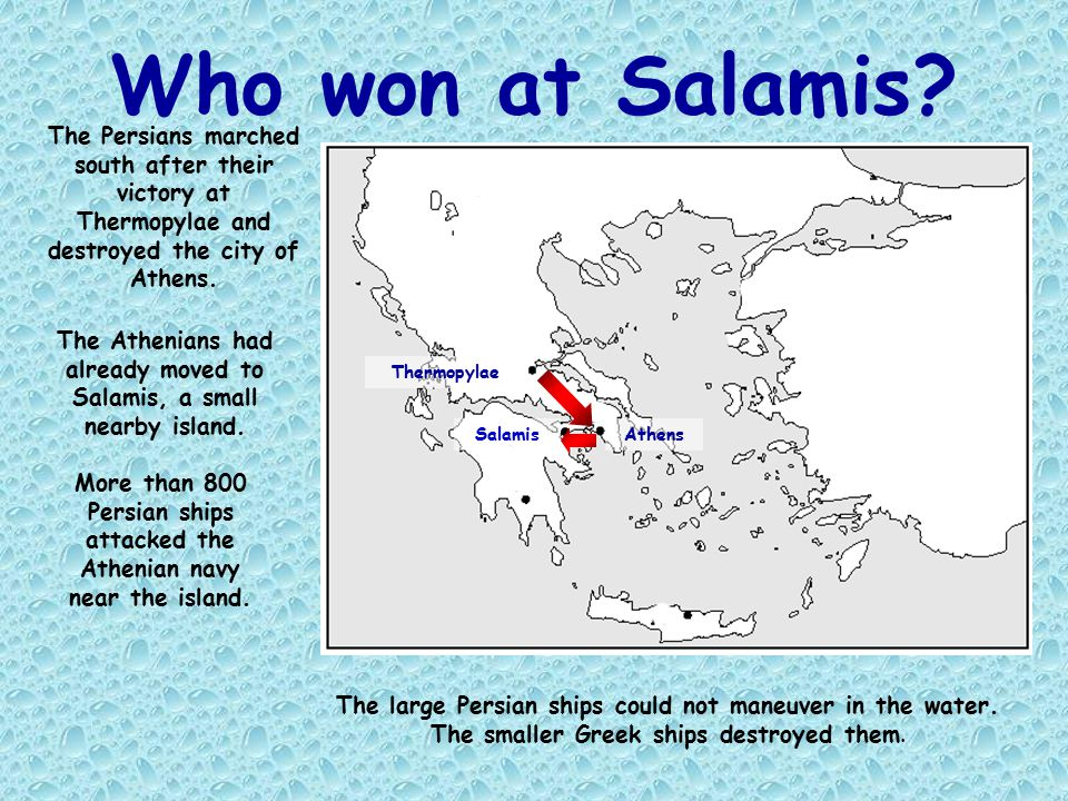 The Athenians had already moved to Salamis, a small nearby island.