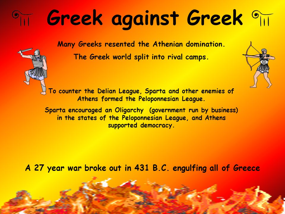 Greek against Greek Many Greeks resented the Athenian domination. The Greek world split into rival camps.