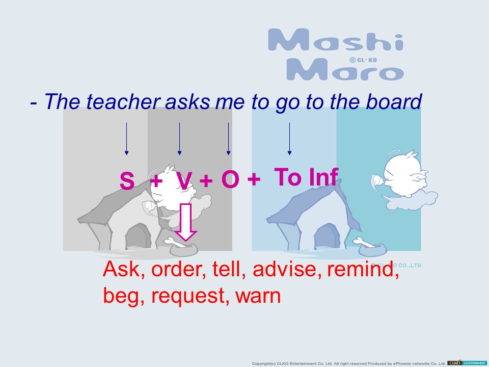 To Inf S + V + O + - The teacher asks me to go to the board