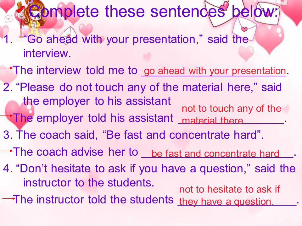 Complete these sentences below: