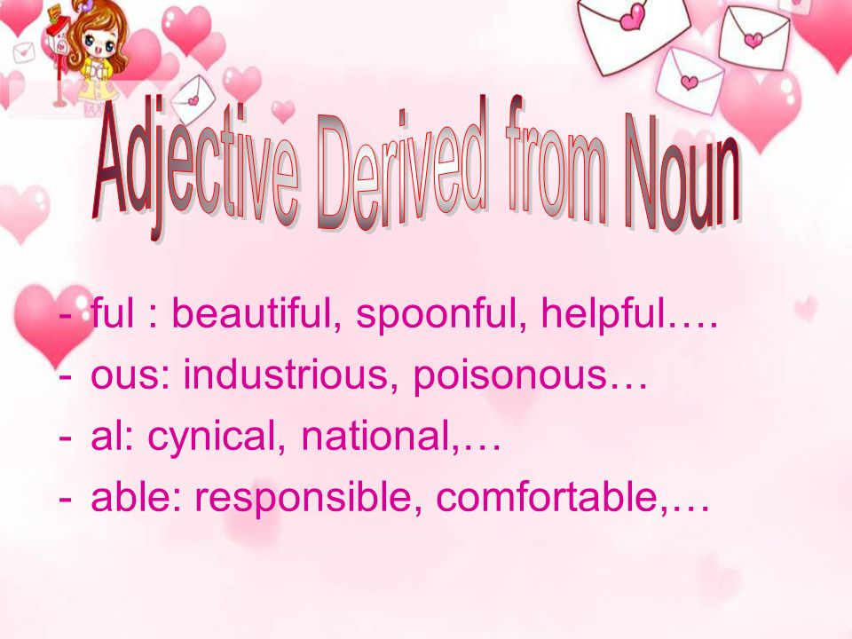 Adjective Derived from Noun