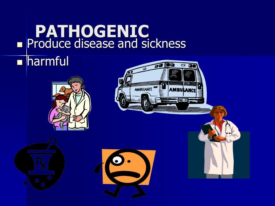 PATHOGENIC Produce disease and sickness harmful