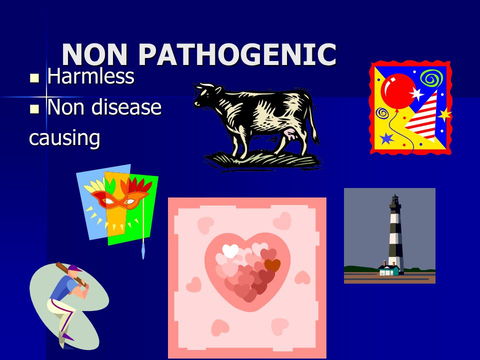 NON PATHOGENIC Harmless Non disease causing