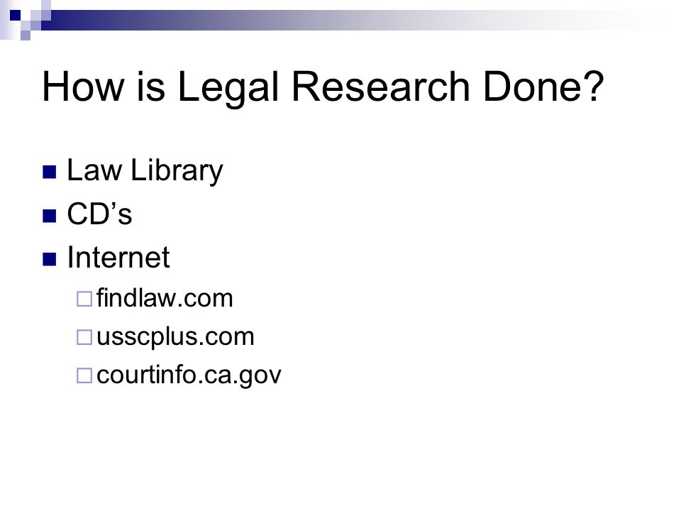How is Legal Research Done