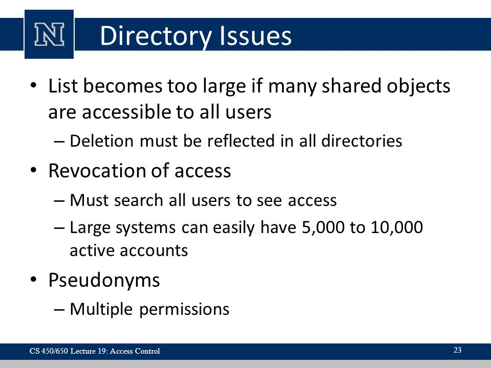 Directory Issues List becomes too large if many shared objects are accessible to all users. Deletion must be reflected in all directories.