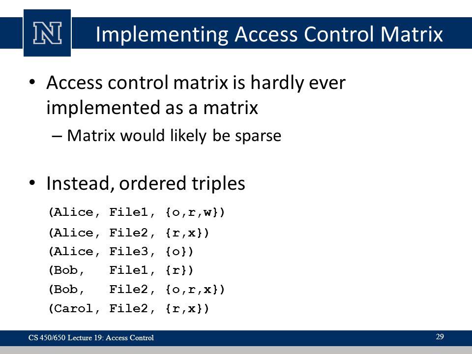 Implementing Access Control Matrix