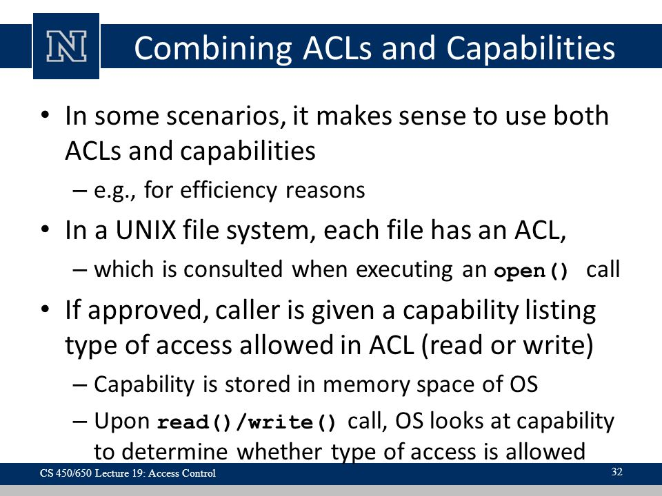 Combining ACLs and Capabilities