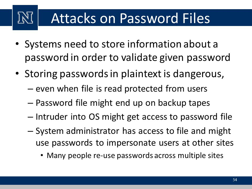 Attacks on Password Files