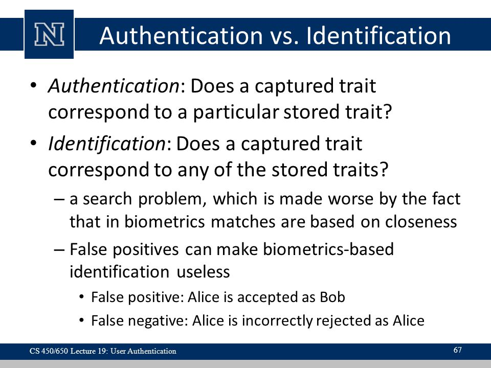 Authentication vs. Identification