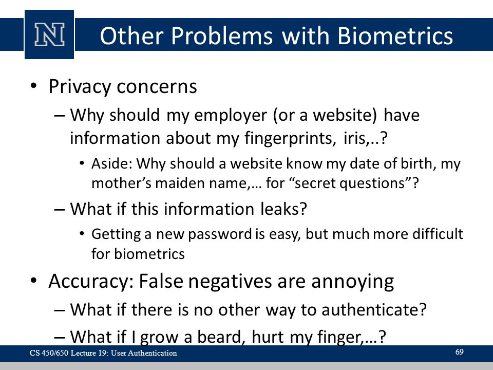 Other Problems with Biometrics