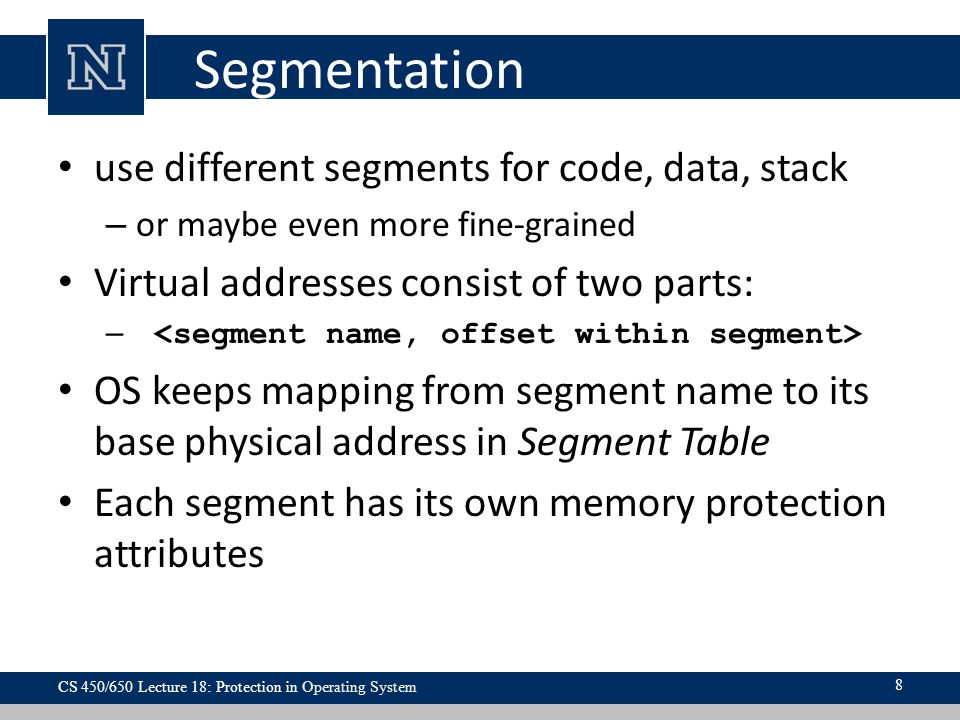 Segmentation use different segments for code, data, stack
