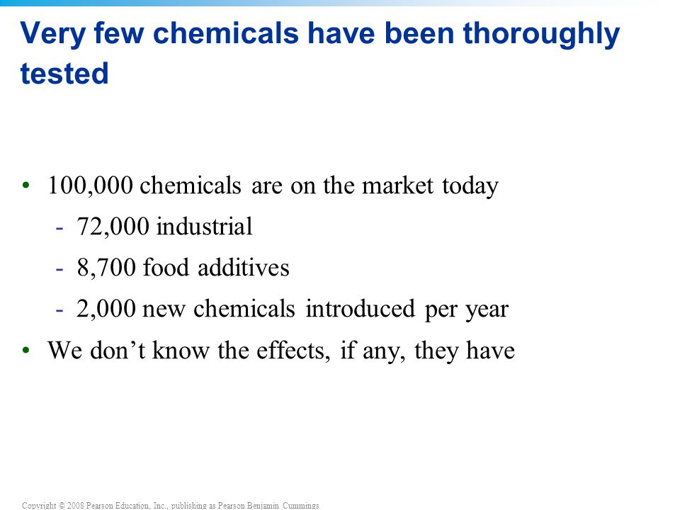 Very few chemicals have been thoroughly tested