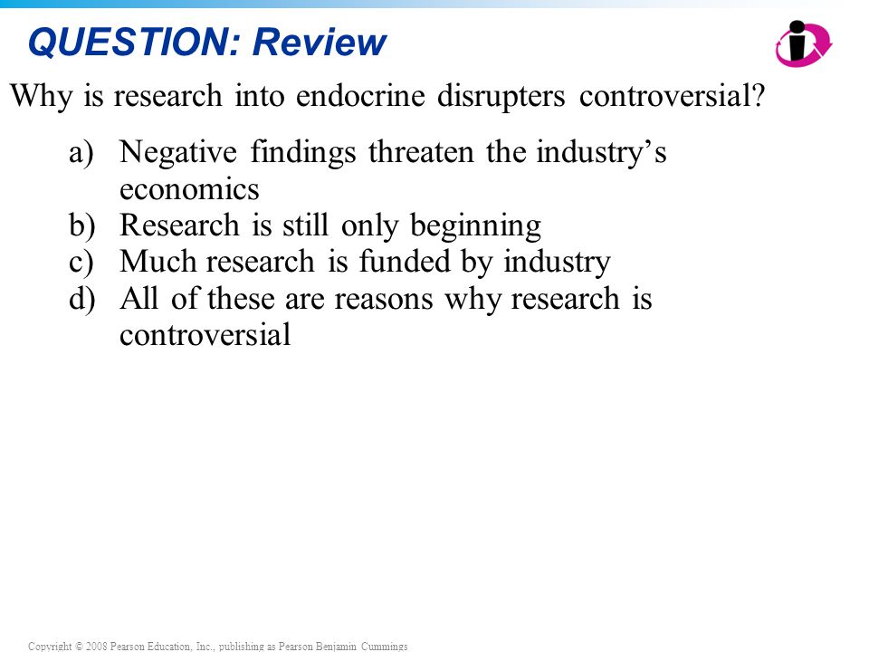QUESTION: Review Why is research into endocrine disrupters controversial Negative findings threaten the industry's economics.