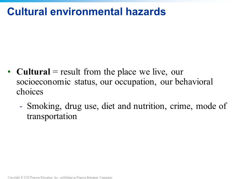 Cultural environmental hazards