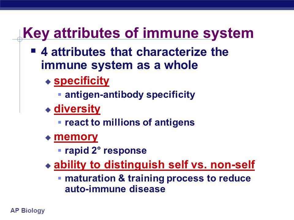 Key attributes of immune system
