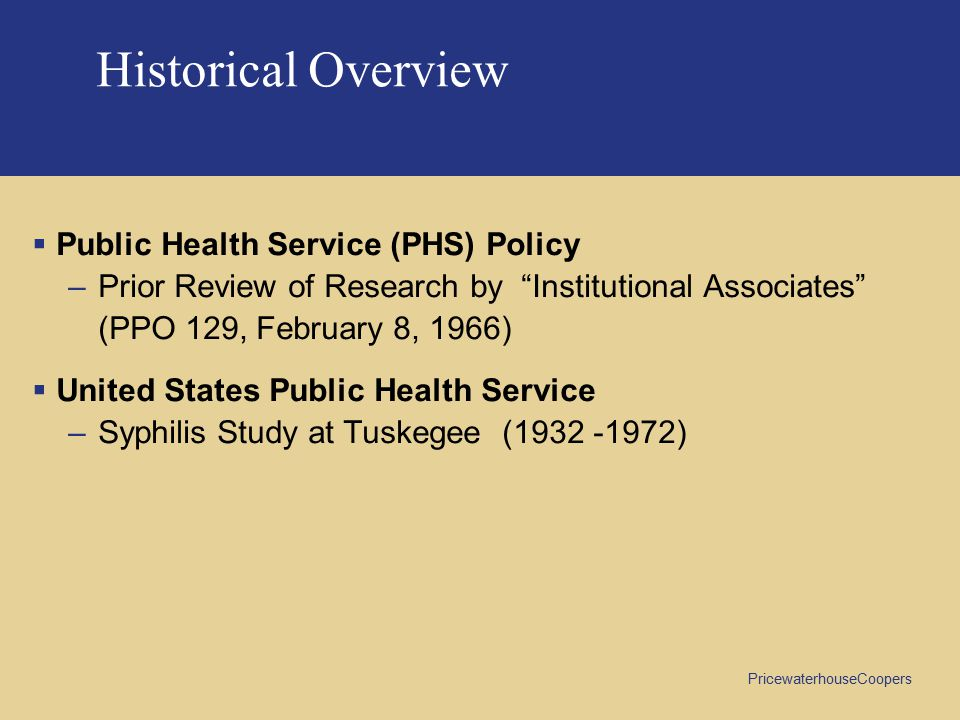 Historical Overview Public Health Service (PHS) Policy