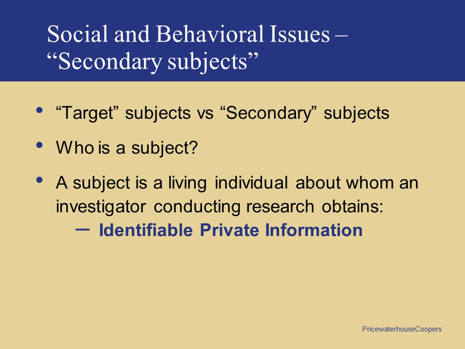 Social and Behavioral Issues – Secondary subjects
