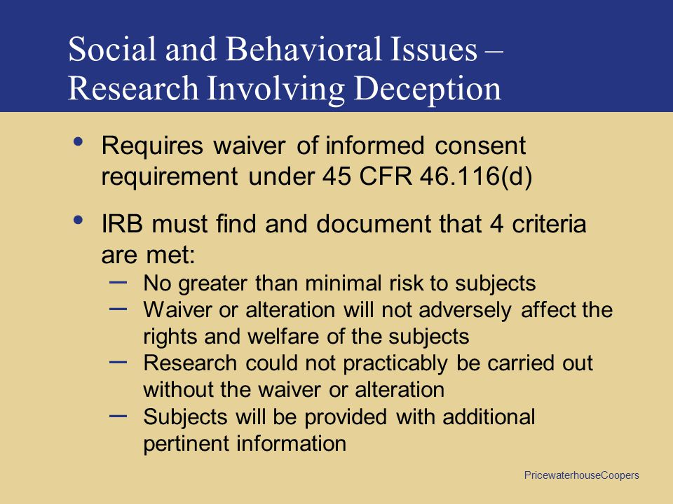 Social and Behavioral Issues – Research Involving Deception