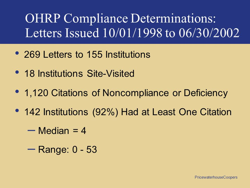 OHRP Compliance Determinations: Letters Issued 10/01/1998 to 06/30/2002