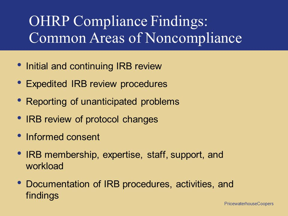 OHRP Compliance Findings: Common Areas of Noncompliance