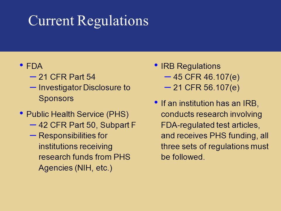 Current Regulations FDA 21 CFR Part 54