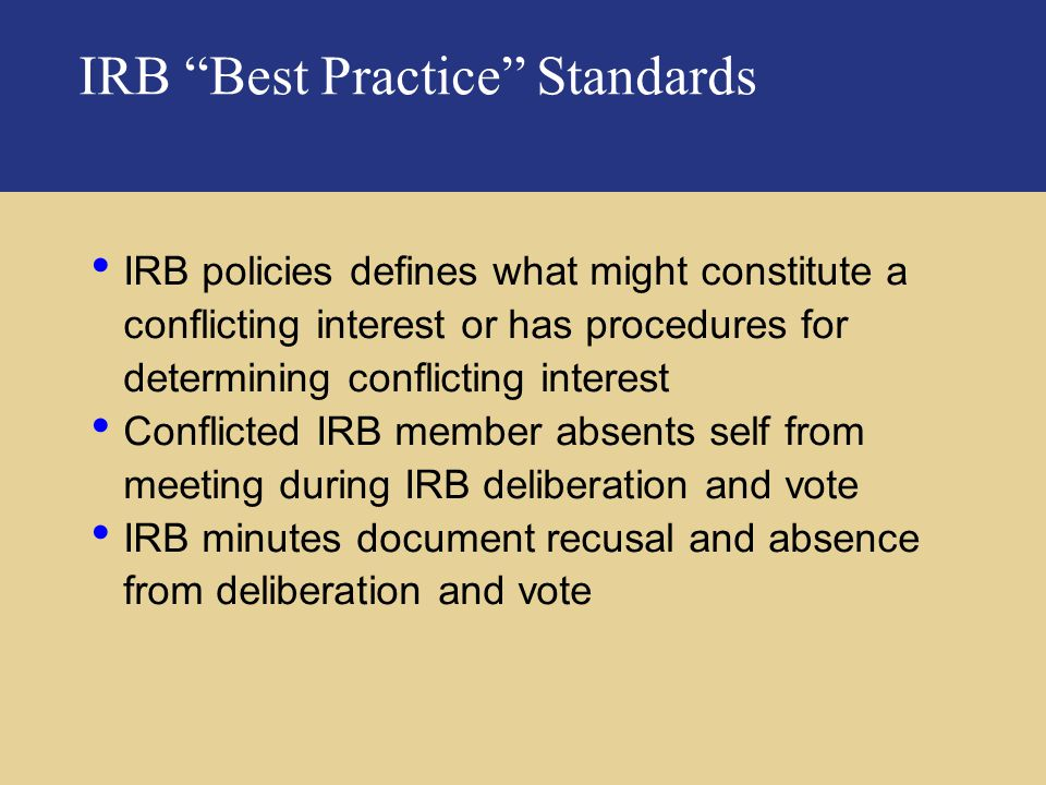 IRB Best Practice Standards