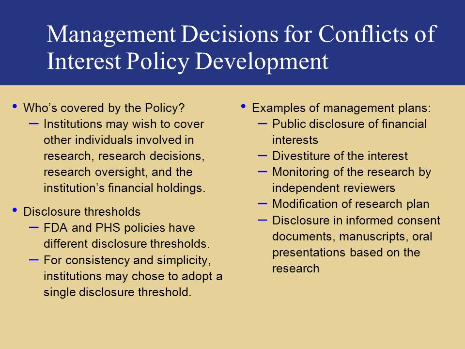 Management Decisions for Conflicts of Interest Policy Development