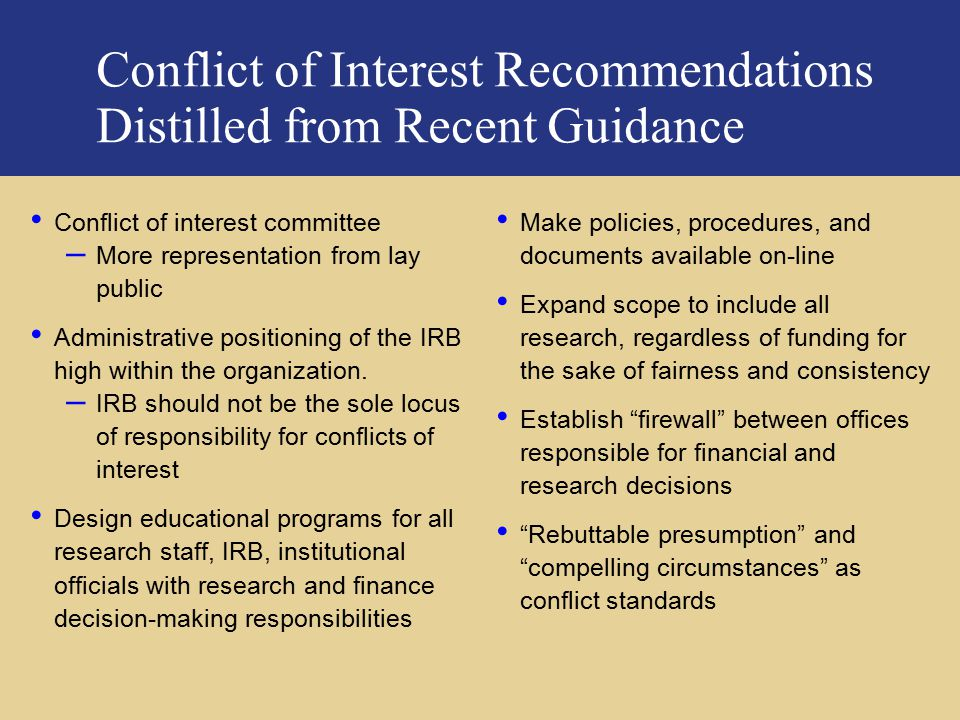 Conflict of Interest Recommendations Distilled from Recent Guidance